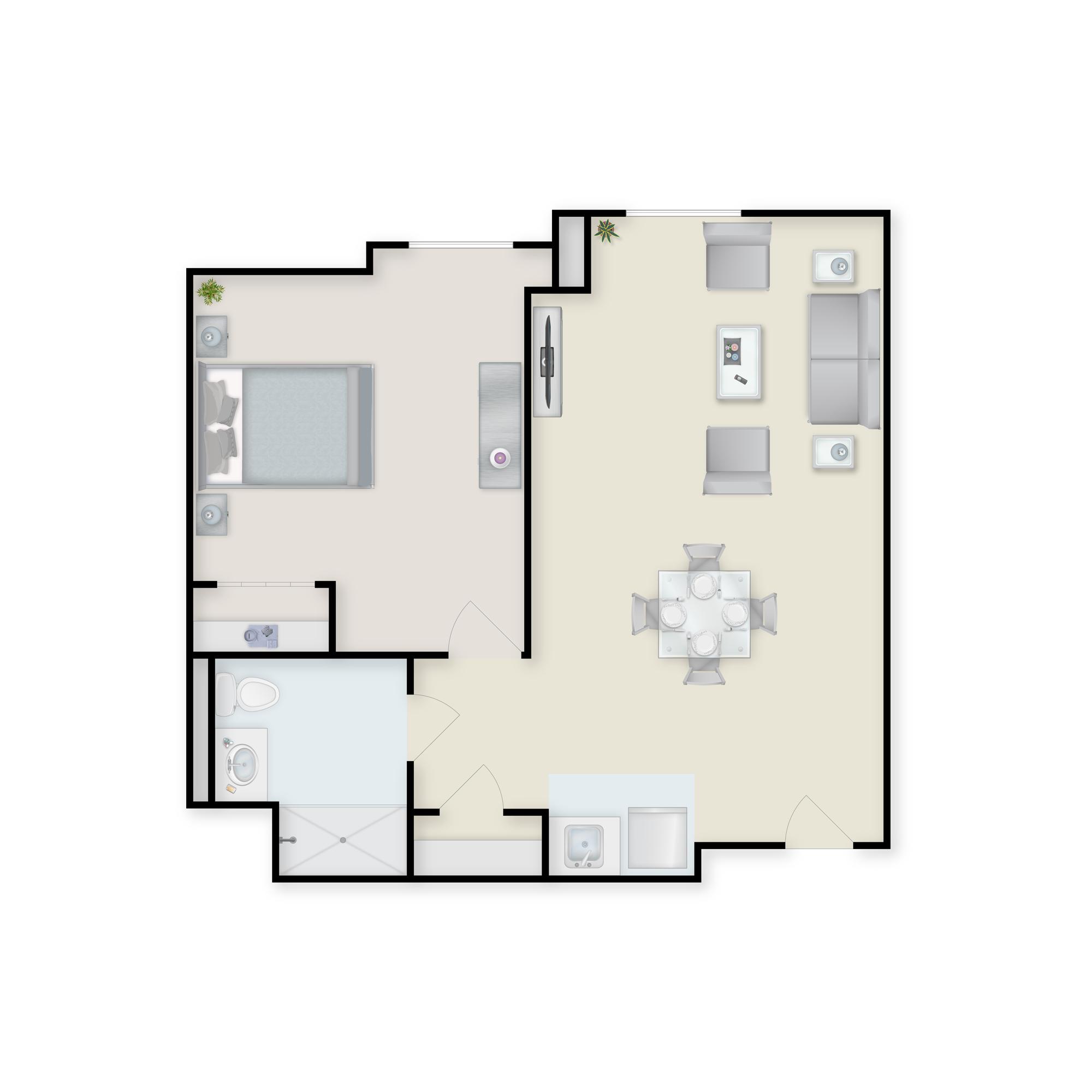 Charter Senior Living of Towson 1 bedroom apartment floor plan