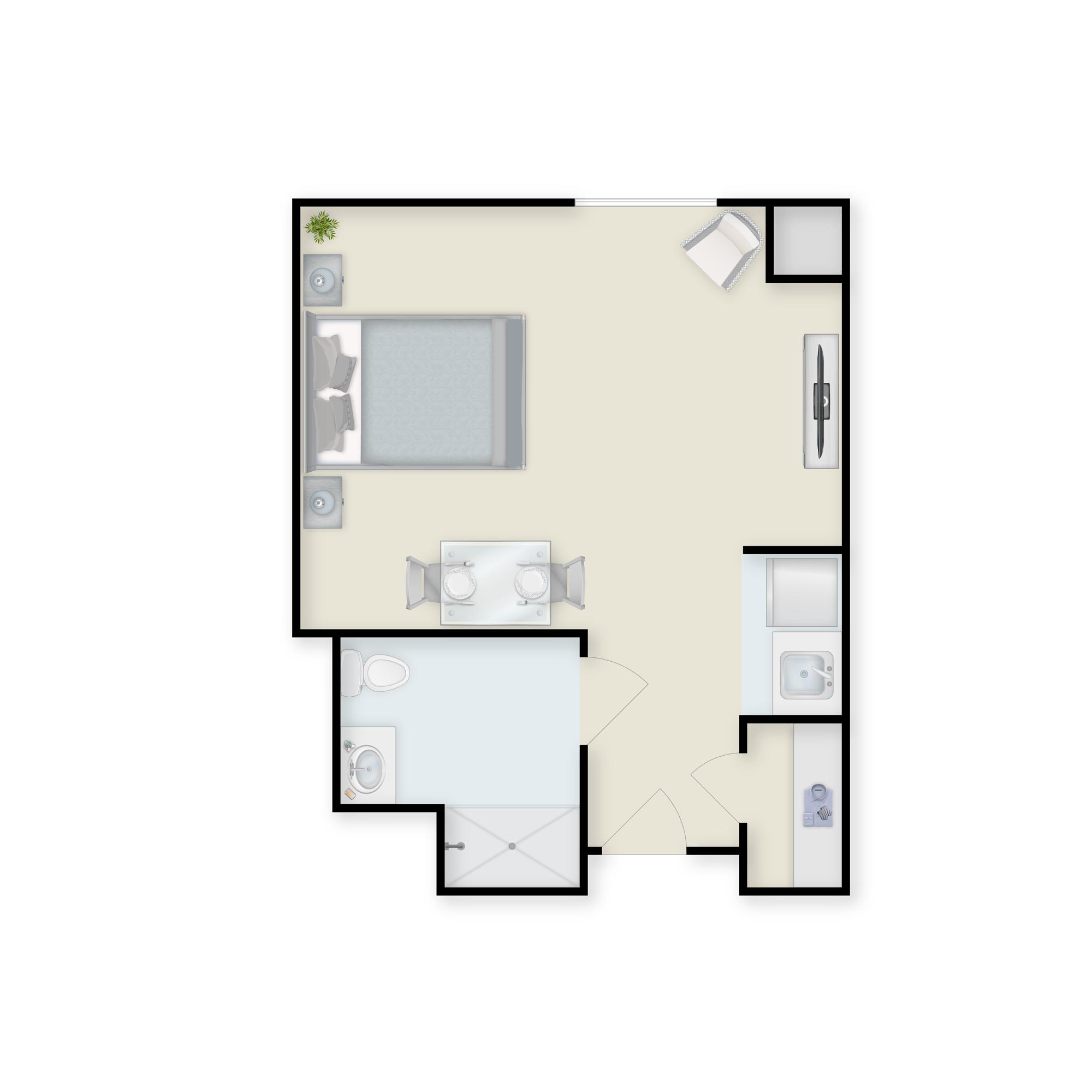 Charter Senior Living of Towson studio apartment floor plan