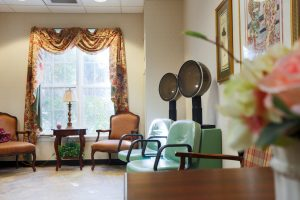 Charter Senior Living of Towson Image Gallery - Salon with professional hairdryers